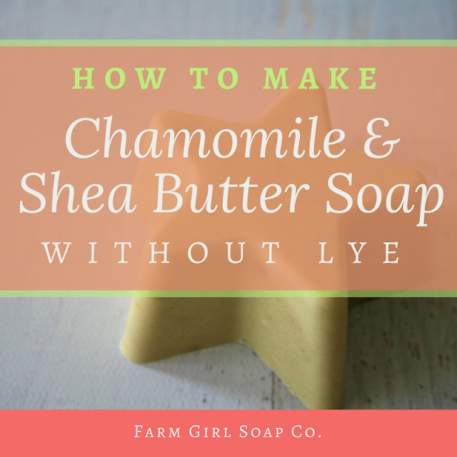 Make this easy and gentle chamomile shea butter soap recipe without lye, using the super simple melt and pour soap method. By Angela Palmer's Farm Girl Soap Co.