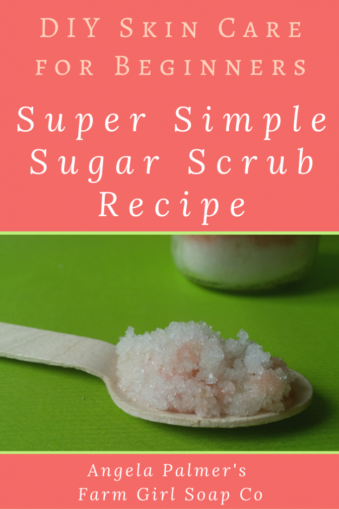 This easy sugar scrub recipe is the perfect beginner introduction to DIY skin care. It uses just 2 simple kitchen ingredients for a pro-quality product. Plus get tips for customizing! By Angela Palmer's Farm Girl Soap Co.