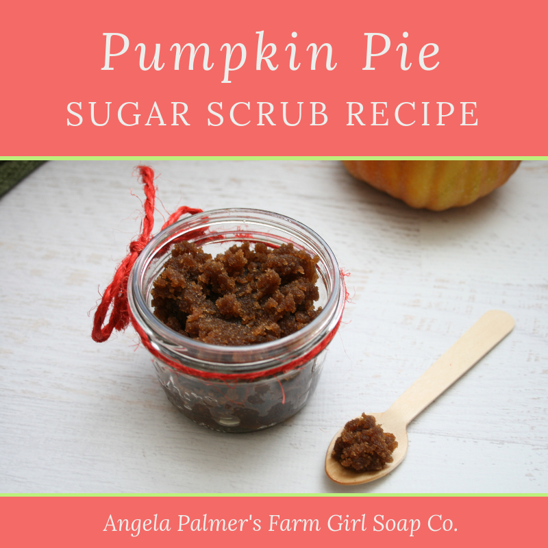 This DIY Pumpkin Pie Scrub Recipe smells awesome and leaves your skin feeling super soft. With emollient pumpkin seed oil, this scrub won't spoil on your shelf. By Angela Palmer's Farm Girl Soap Co. | www.angelapalmer.com