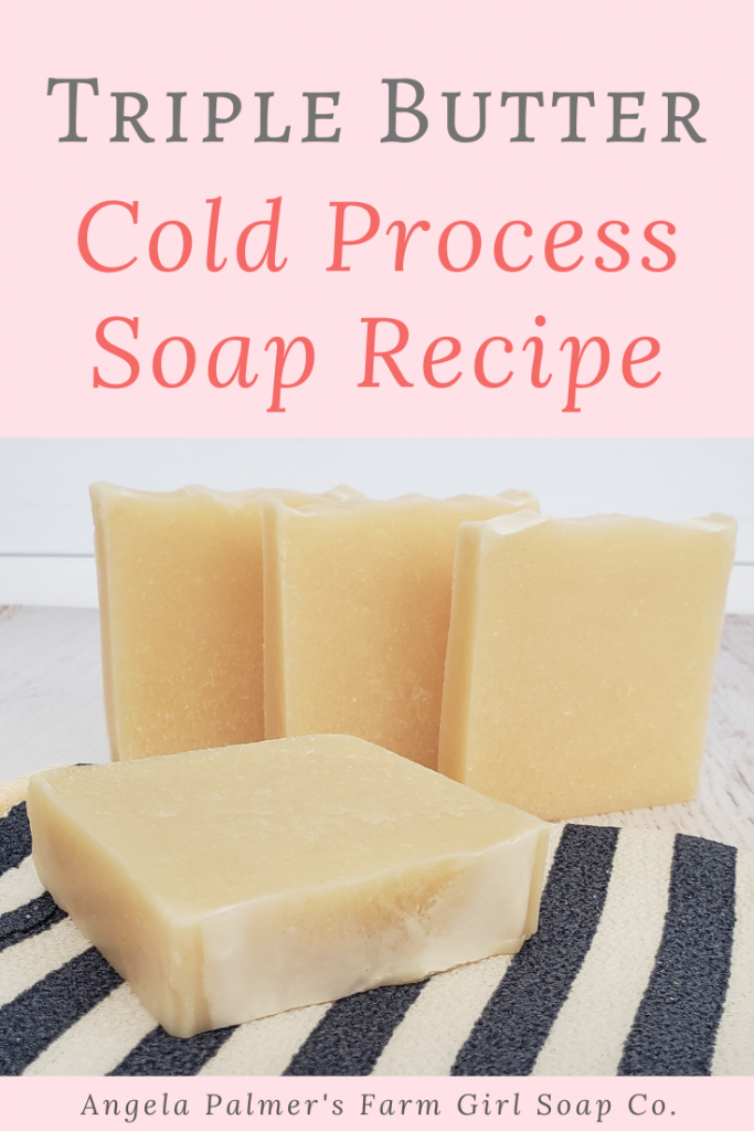 This cold process triple butter soap recipe makes the perfect premium bar: bubbly, lusciously creamy, and moisturizing, with a citrusy scent. By Angela Palmer's Farm Girl Soap Co.