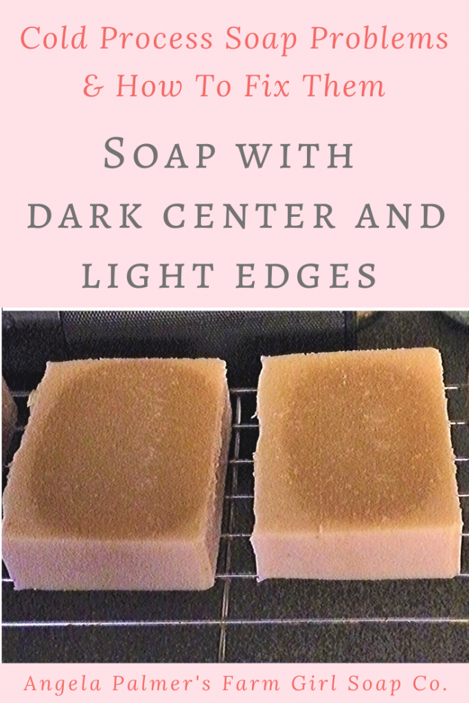 Does your cold process soap have a dark center and light edges? Find out what causes soap bars to develop a dark middle, how you can prevent this discoloration in your soap bars, and if this soap is still safe to use. By Angela Palmer's Farm Girl Soap Co.