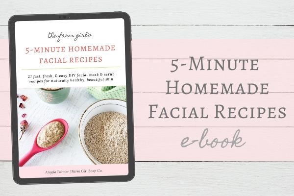 Image of the e-book title page in a tablet viewer with headline label 5-Minute Homemade Facial Recipes E-Book